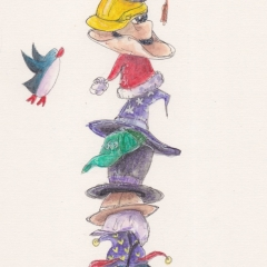 Illustration: PenguinGirl & Her Many Hats (2016) Watercolor, ink and color pencil on watercolor paper, 5 x 10 in., 72dpi