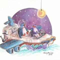 Penguin-Boat-Plane-Adventure-2017-travel-ocean-art-illustration-MaryAnn-Loo