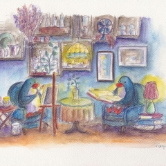 indie-cafe-dreamers-painter-reader-penguins-love-illustration-MaryAnn-Loo