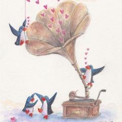 music-lovers-illustration-gramophone-love-penguins-dance-MaryAnn-Loo