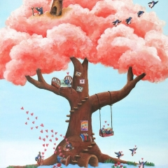 Dream-Tree-bricks-clouds-penguin-fun-love-happiness-painting-MaryAnn-Loo