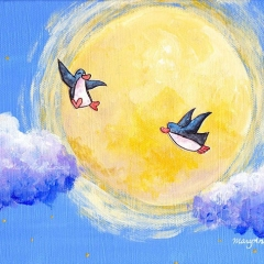 fly-me-to-moon-illustration-painting-art-penguin-cloud-MaryAnn-Loo