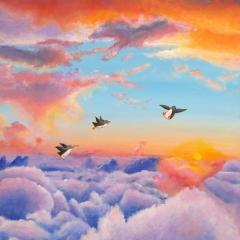 new-sky-dreamers-penguins-flying-sunrise-clouds-MaryAnn-Loo
