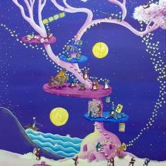 the-artists-dream-tree-2016-penguin-love-art-painting-MaryAnn-Loo