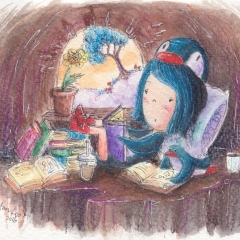 Illustration: PenguinGirl & the Book Lover (2016) Watercolor, ink and color pencil on watercolor paper, 5.8 x 4.1 in., 72dpi