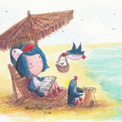 Illustration: PenguinGirl's Beach Vacation (2016)Watercolor, ink and color pencil on watercolor paper, 6 x 4 in., 72dpi