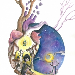 "Illustration: ""Where The Heart Is"" (2016)Watercolorand white gouache on watercolor paper, 11.7 x 16.5 in., 72dpi"