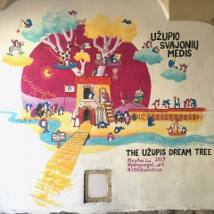 "Project: 100 Dream Trees No. 5: ""The Užupis Dream Tree"" (2019)Acrylic on wall, 2.5 x 2 m, onlineUzupio g. 3, Vilnius 01200, Lithuania"