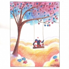 Tree-Swing-2013-penguin-love-art-illustration-MaryAnn-Loo