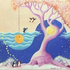 Love-Shelter-2016-penguin-tree-art-illustration-painting-MaryAnn-Loo