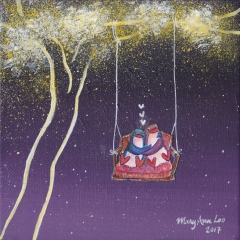 Starry-Tree-Swing-2017-penguin-love-art-illustration-painting-MaryAnn-Loo