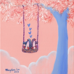 Tree-Swing-3-2017-penguin-love-art-painting-MaryAnn-Loo