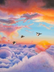 new-sky-dreamers-penguins-flying-sunrise-clouds-MaryAnn-Loo