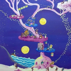 the-artists-dream-tree-2016-penguin-love-art-painting-MaryAnn-Loo