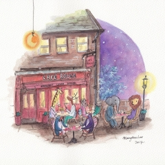Night-Out-At-Cafe-Rouge-2017-penguin-dinner-art-illustration-MaryAnn-Loo