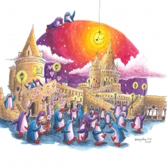 Party-at-Fisherman's-Bastion-2020-penguin-adventure-art-illustration-MaryAnn-Loo