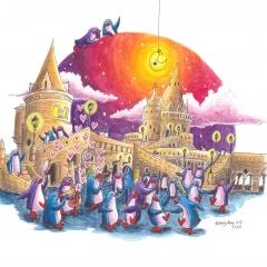 Party-at-Fisherman's-Bastion-2020-penguin-adventure-art-illustration-MaryAnn-Loo