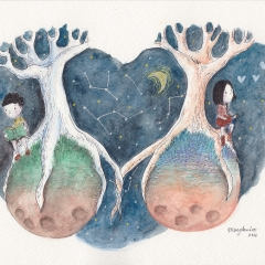 Illustration: Worlds Apart (2014), watercolor, ink and color pencil on watercolor paper, 11.7 x 8.3in., 72dpi