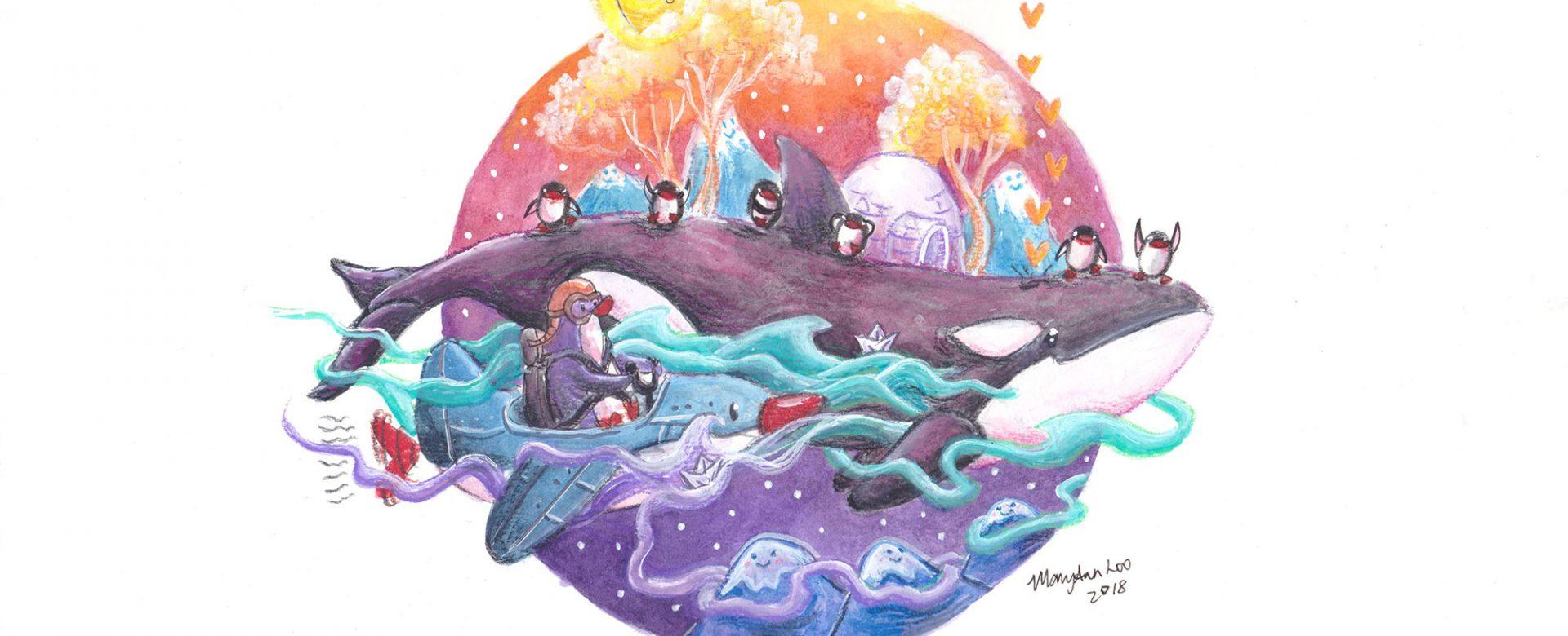 """Original Illustration: """"Orca Adventure"""" (2018)"""