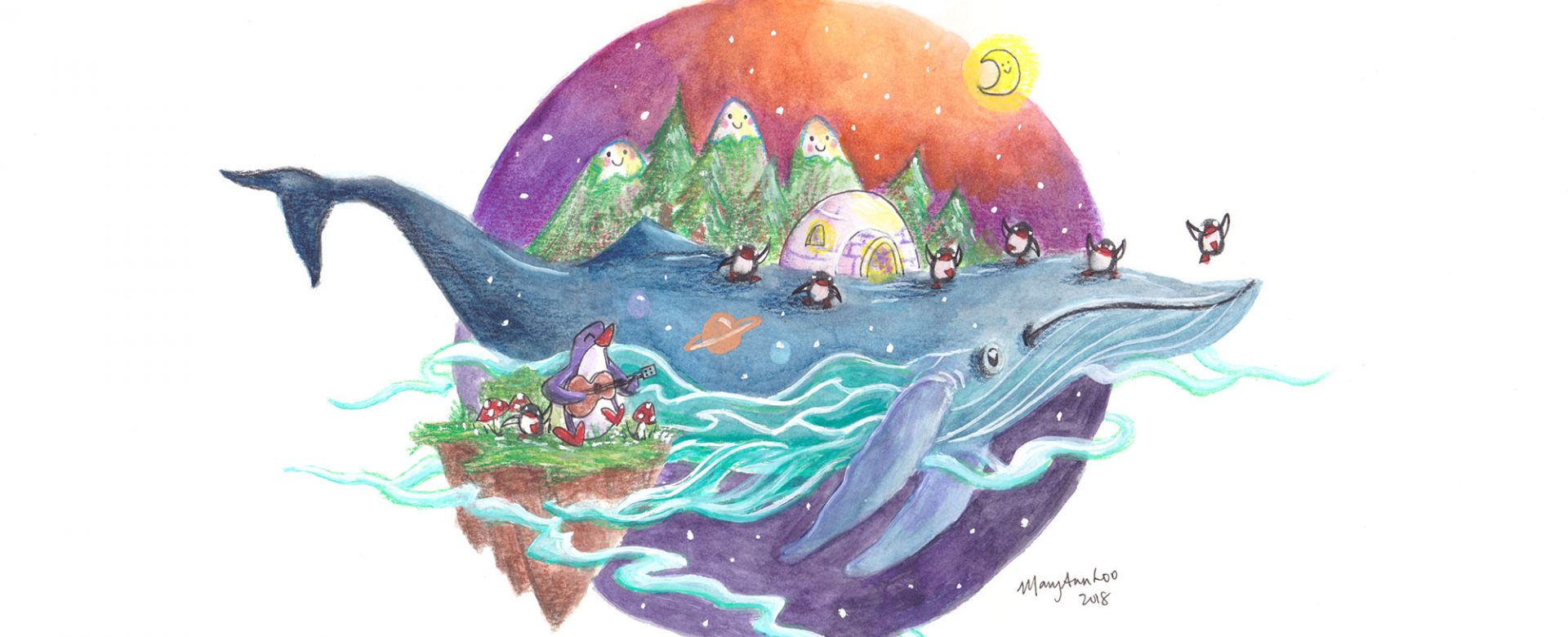 "Original Illustration: ""Whale Island 1"" (2018)"