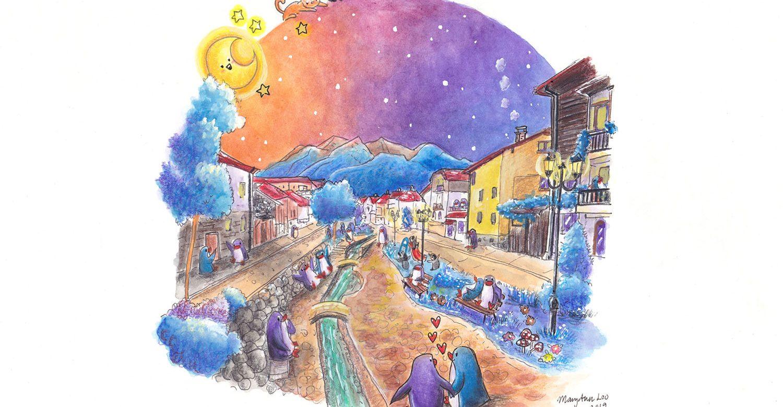 """Original Illustration: """"Summer Night in Bansko"""" (2019)"""