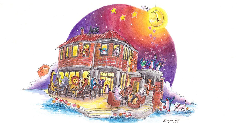 """Original Illustration: """"Night Out at Caffe Varnaj"""" (2020)"""