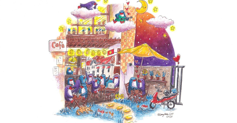"Original Illustration: ""A Café Love Story"" (2020)"